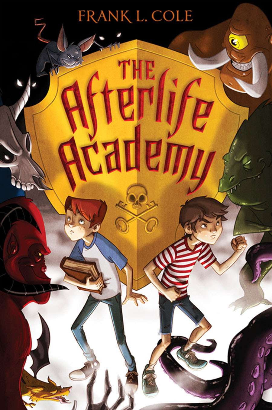 Cover the The Afterlife Academy; two boys standing in front of a yellow heraldric shield with the title on it.