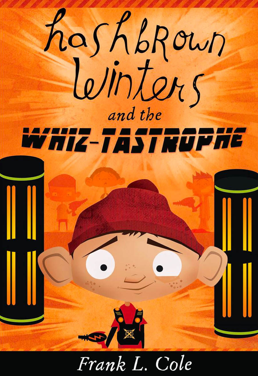 Book cover for Hashbrown Winters and the Whiz-tastrophe. An image a young boy wearing a slouchy red beanie.